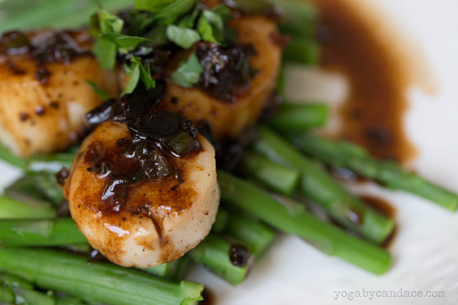 Scallop and asparagus with black garlic jus