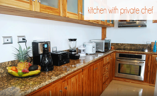 Kitchen area. Breakfast and dinners are provided.