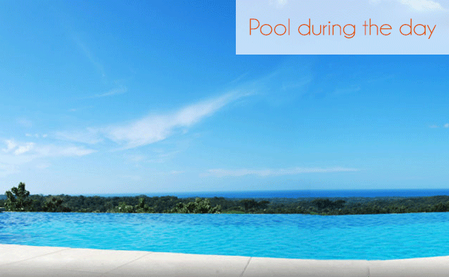 infinity pool overlooking the beach, which is approx 15 minutes away
