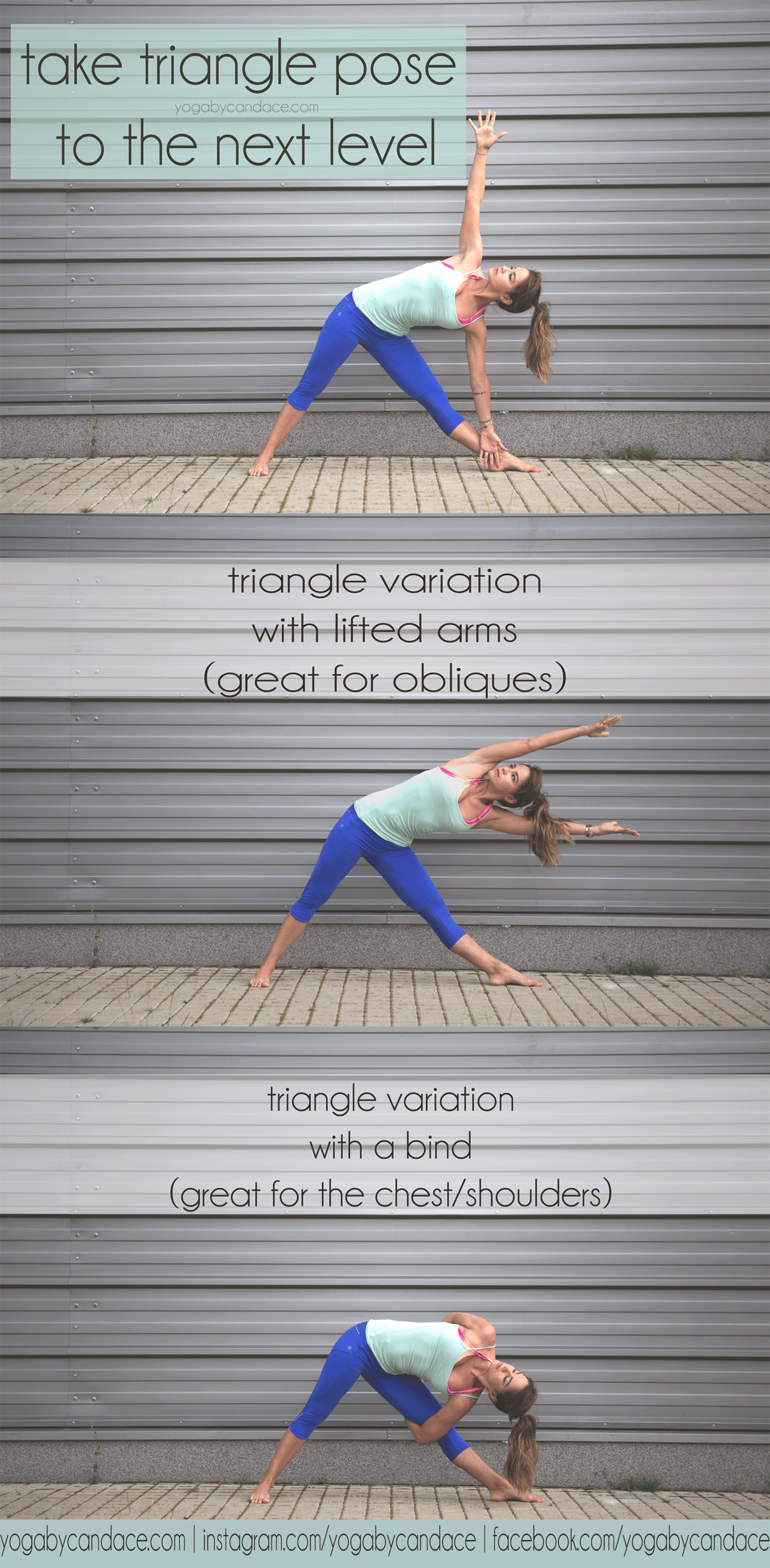 Pin it! Take your triangle pose to the next level with these two variations  Wearing:  Athleta leggings ,  f21 tank , glyder  apparel bra ,  see sheer lipstick