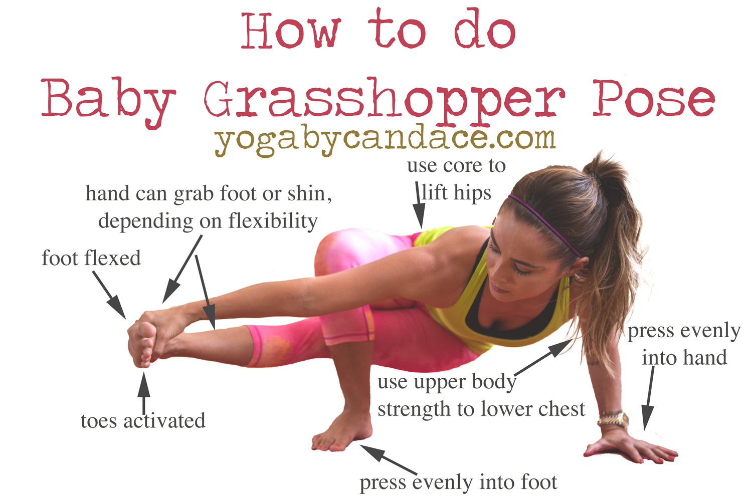Pin it and learn how to do this cool arm balance!  Wearing:  Glyder capris , lululemon shirt ( review ),  under armour bra .