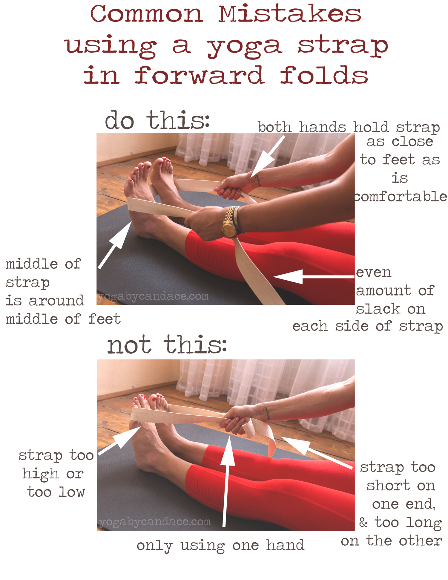 Pin it! Common mistakes using a yoga strap with forward folds  Wearing:  Athleta pants . Using:  Black mat pro  &  Gaiam yoga strap