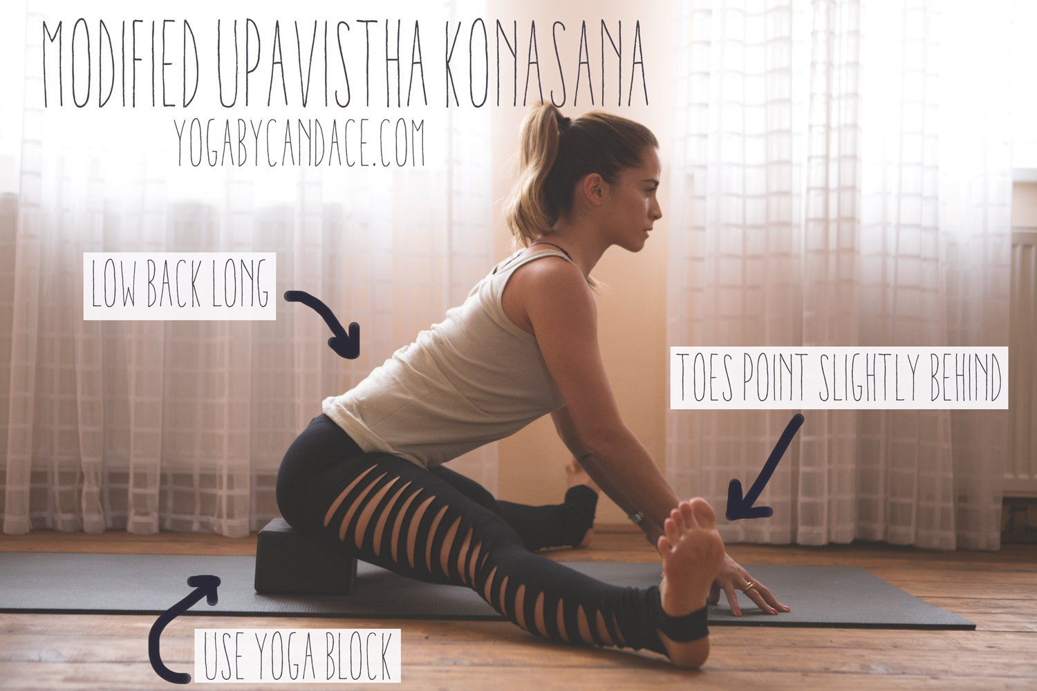 How to modify upavistha konasana  Wearing: Asos slash pants ( similar, in a far better quality and appropriate for yoga )
