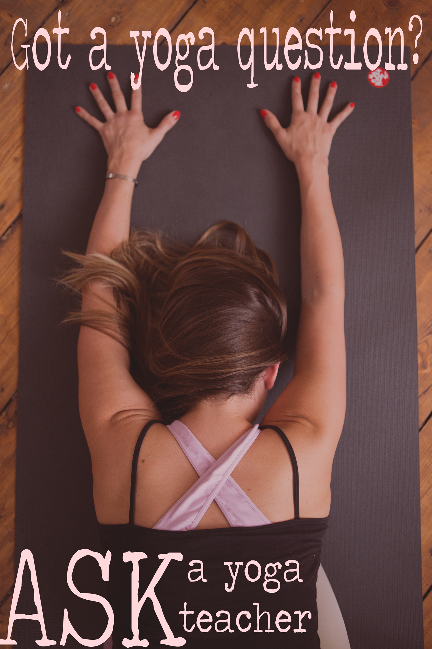 Pin it! Ask your yoga question on this blog!  Wearing:  Wellicious zing bra  ( review ). Using  black mat pro .