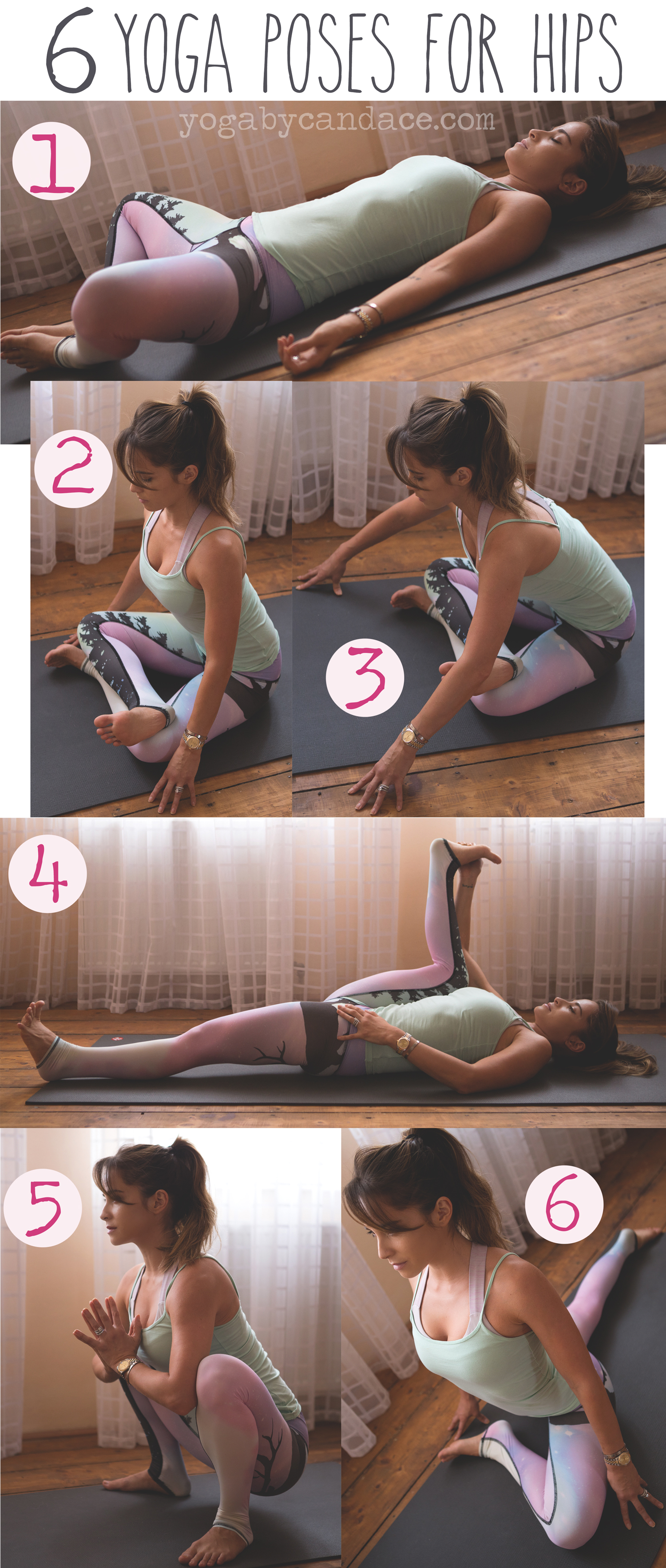 Pin now, practice later! 6 yoga poses for hips!  Wearing:  Teeki northern lights pants ,  tank . Using:  Manduka mat