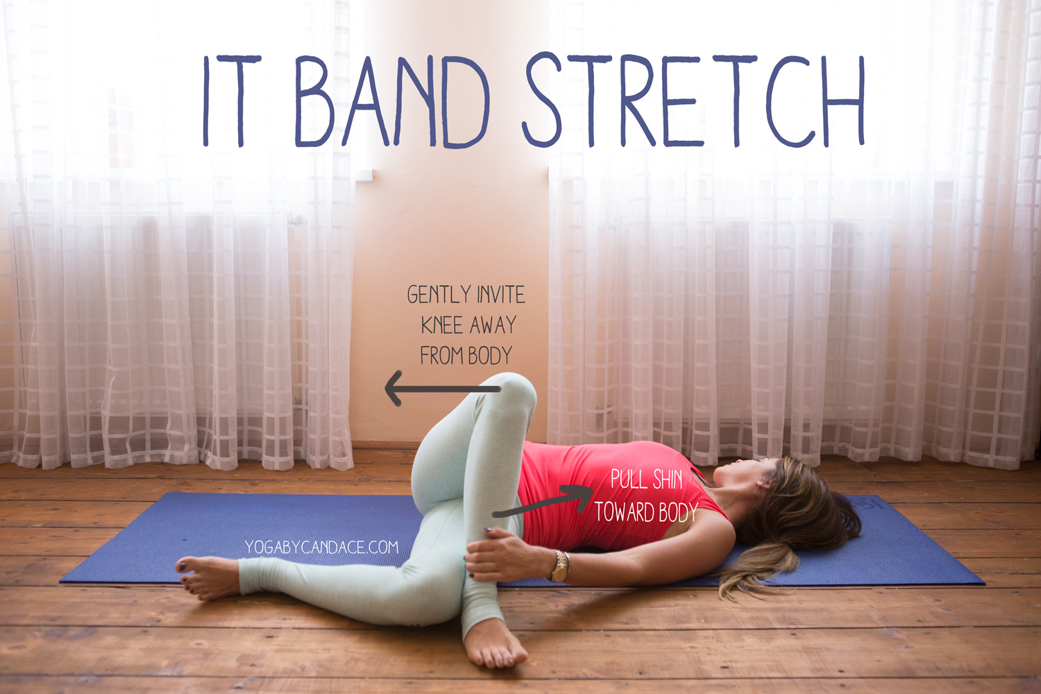 Pin now, practice later - a great stretch for the IT band!  Wearing:  Sweaty Betty tank , fabletics leggings.
