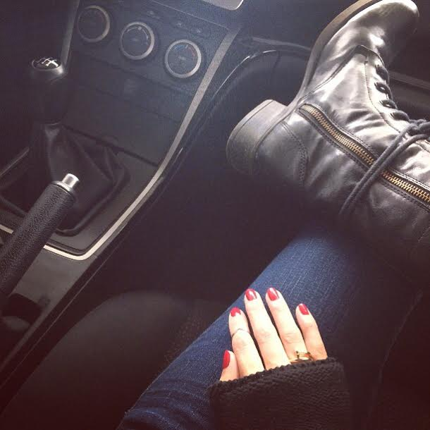 Berlin bound.  Wearing:  Boots ,  jeans , midi ring brought in Greece, Cartier nail ring,  nail polish .