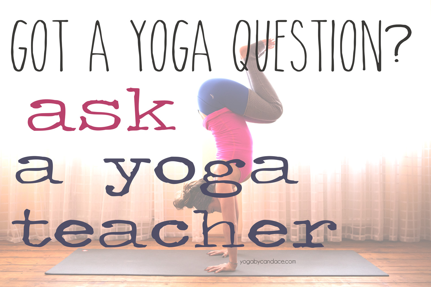 Pin it and ask your questions on the  Yoga Forum !  Wearing:  Sweaty Betty legwarmers , lululemon top ( similar at better price point ), pink sun activewear leggings ( similar )  Using:  Black mat pro .
