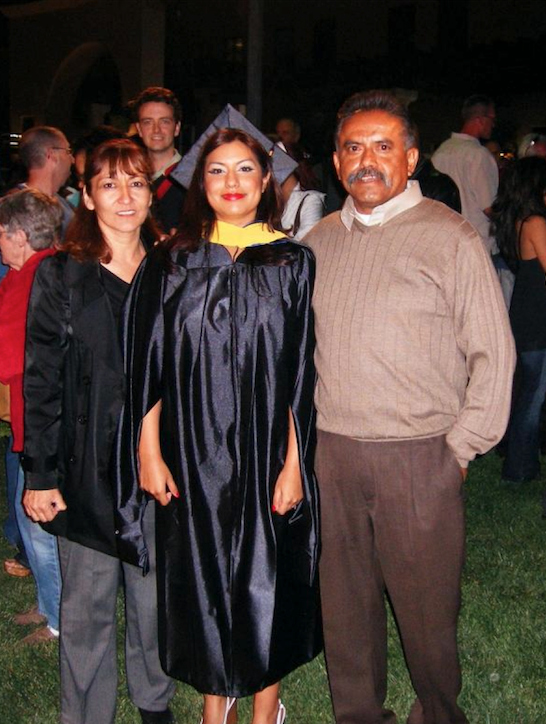 Angie graduating with her Master's degree
