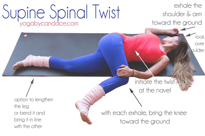 Pin now, practice later! Supine spinal twist.  Wearing:  Leg warmers ,  Athleta pants ,  Sweaty Betty tank . Using  Manduka mat .