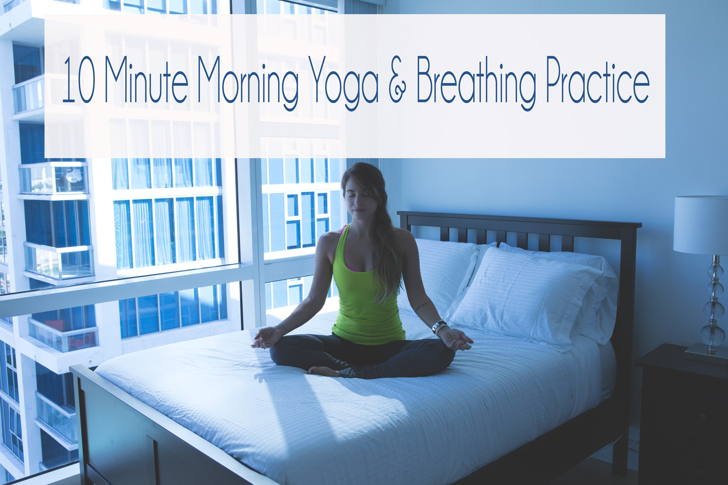 Pin now, practice later! 10 Min morning yoga and breathing practice video  Wearing:  Alo pants  c/o,  Lululemon tank .