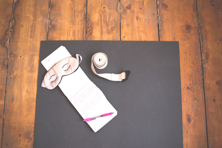 Using: Manduka mat ( review here ), sleep mask , yoga strap (Related: How to use yoga straps )