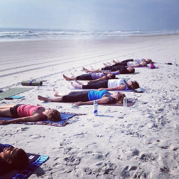 Beach yoga in Florida