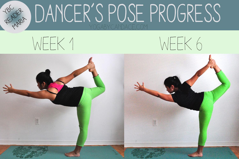 6 week dancer's pose progress photos