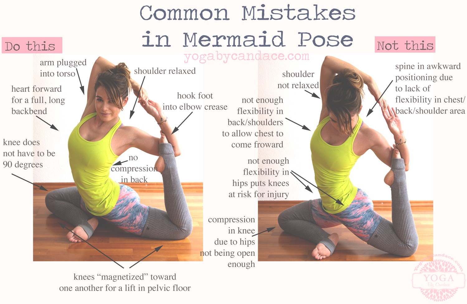 Pin now, practice later. Common mistakes in mermaid pose.  Wearing:  lululemon tank ,  liquido active pants ,  sweaty betty leggings  (on supersale!)