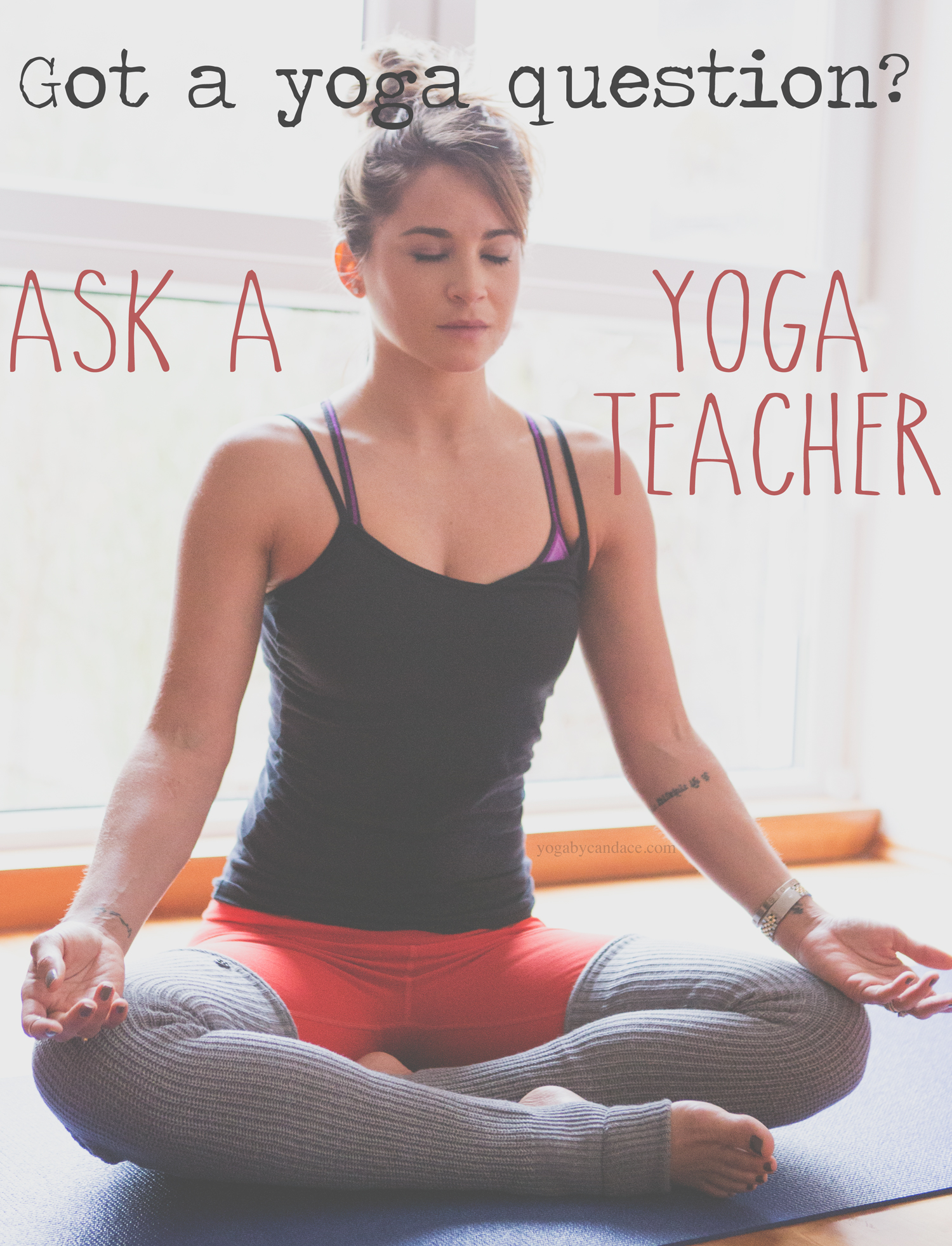 Pin it and ask your yoga question on this blog!  Wearing: Legwarmers ( similar ),  athleta pants  (on super sale!). Using:  yoga mat .