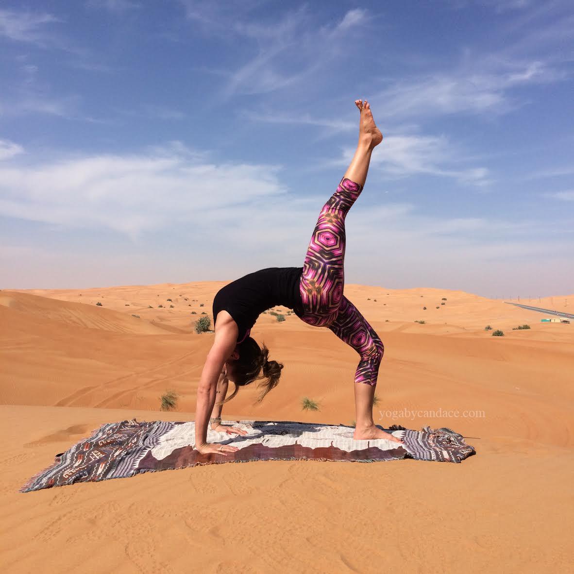 Yoga in the desert  Wearing:  koral leggings ,  splendid top .