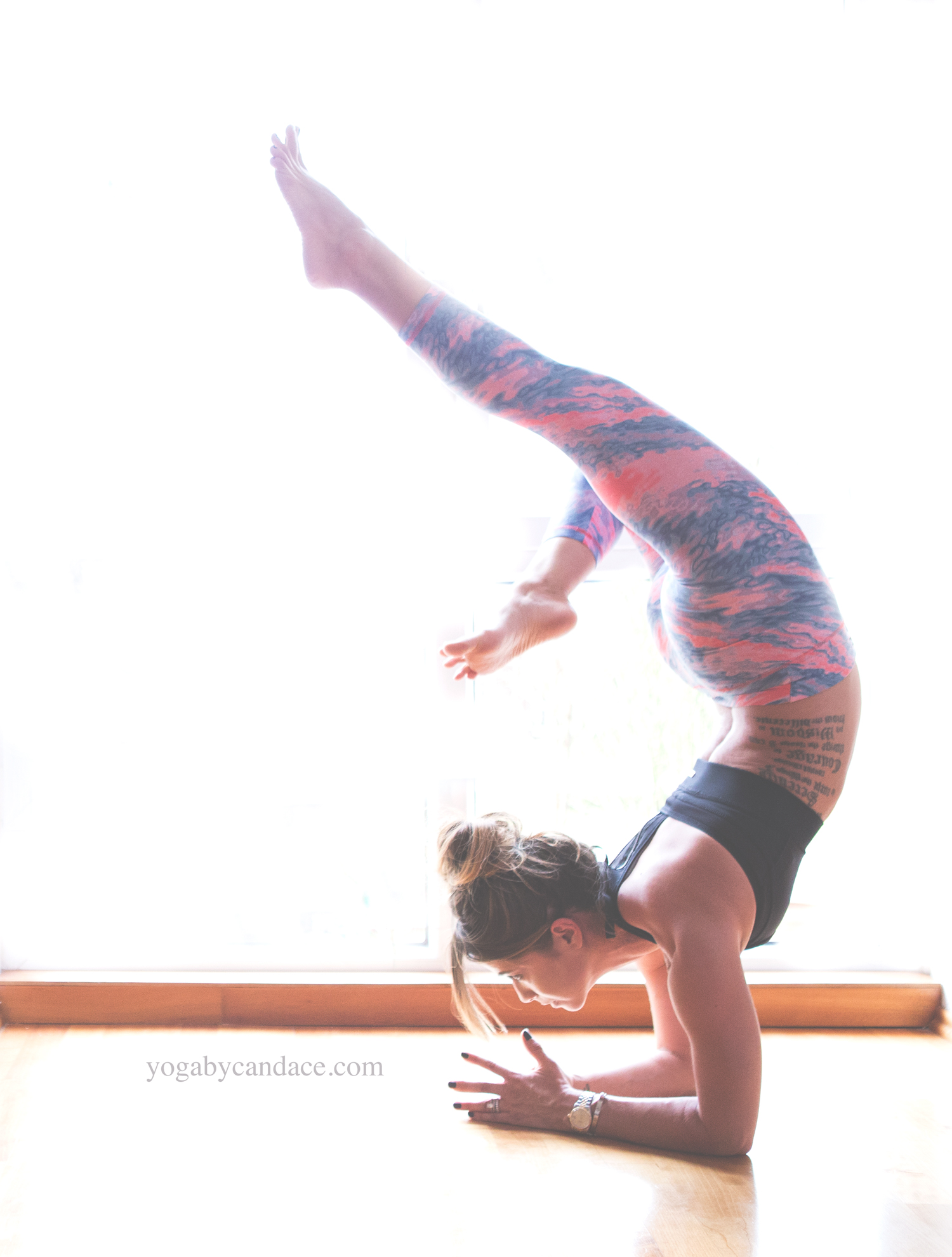 Pin now, practice later! Week 4 of the Backbend Project  Wearing: leggings, bra.