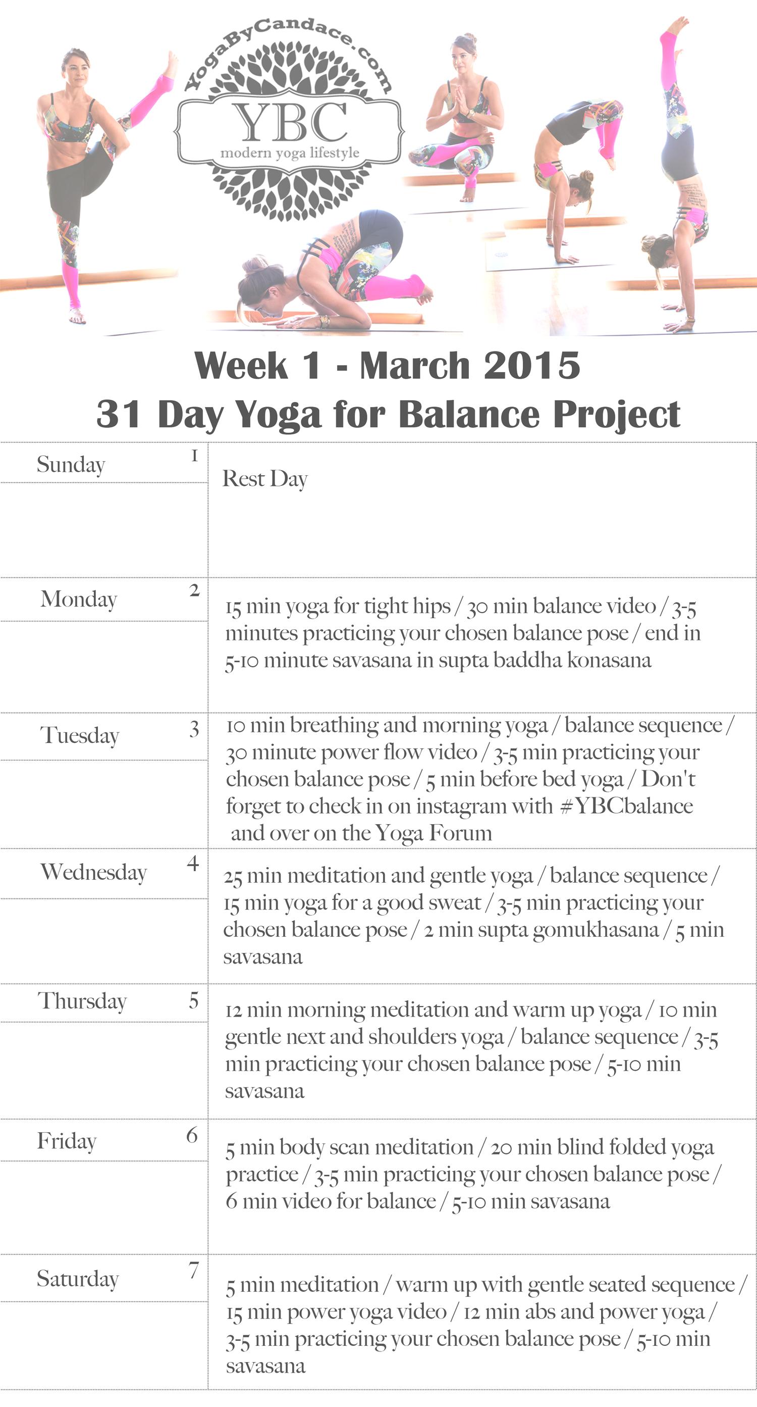 31 Day Balance Project - Week 1 Schedule — YOGABYCANDACE