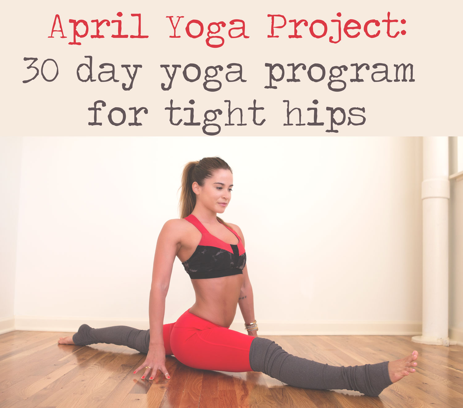 Pin now, and join in the 30 Day Yoga Program for Tight Hips  Wearing:  alo yoga pants  and  bra , c/o.