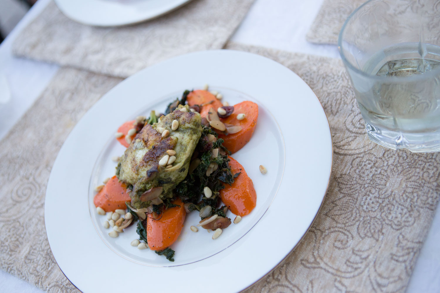 Dinner, roasted veggies with chicken toasted pine nuts