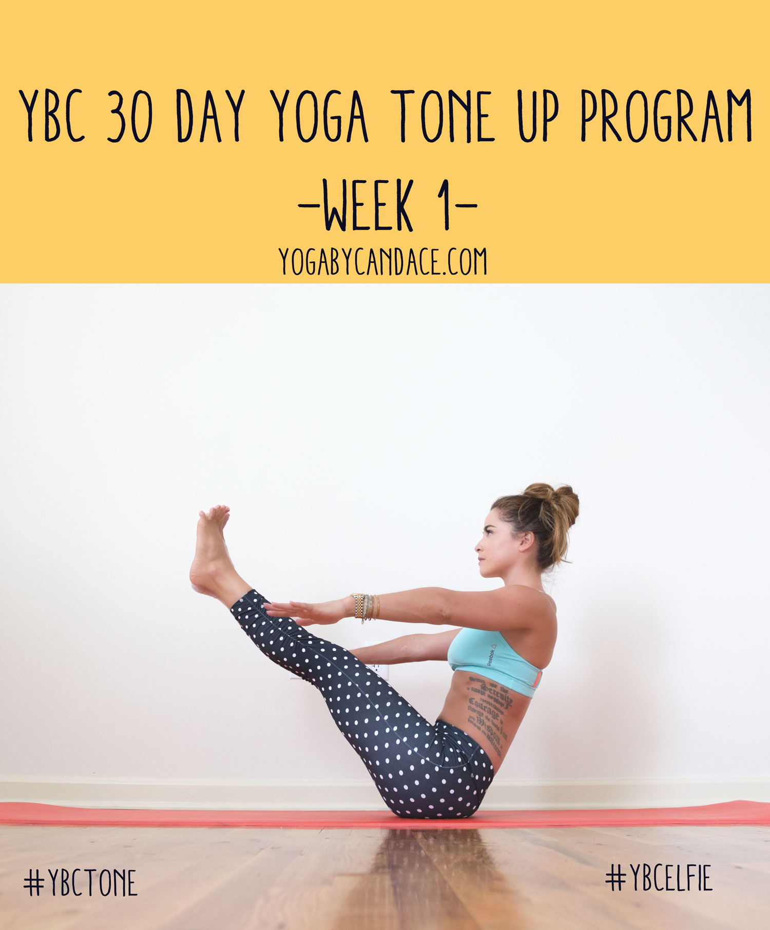 Pin now, practice later! 30 Day yoga program to tone - week 1.  Wearing:  Kira Grace leggings ,  Reebok bra .