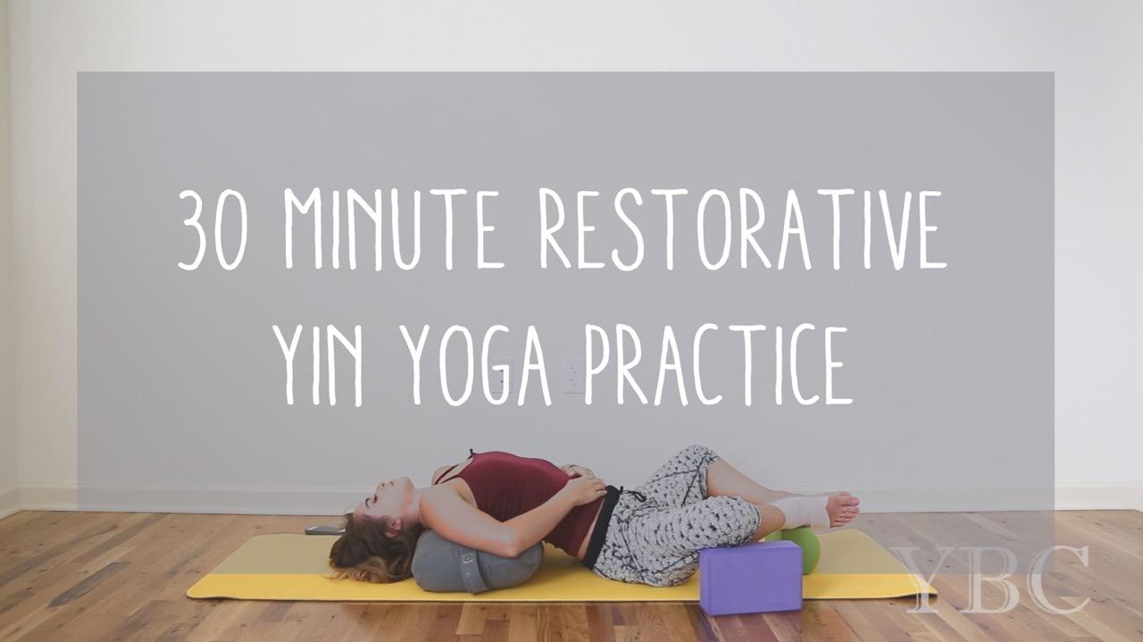 Pin now, practice later - 30 minute restorative yin yoga practice  Wearing:  sweaty betty pants . Using:  lole mat ,  manduka bolster ,  gaiam blocks  and a  prana block .