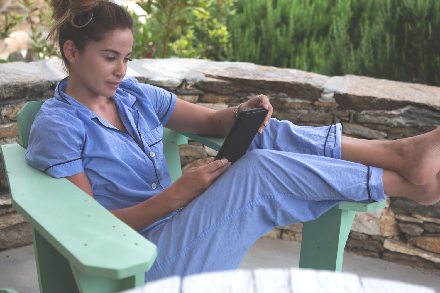 Favorite loungewear  Wearing:  j crew pj set . Using:  Kindle Fire .