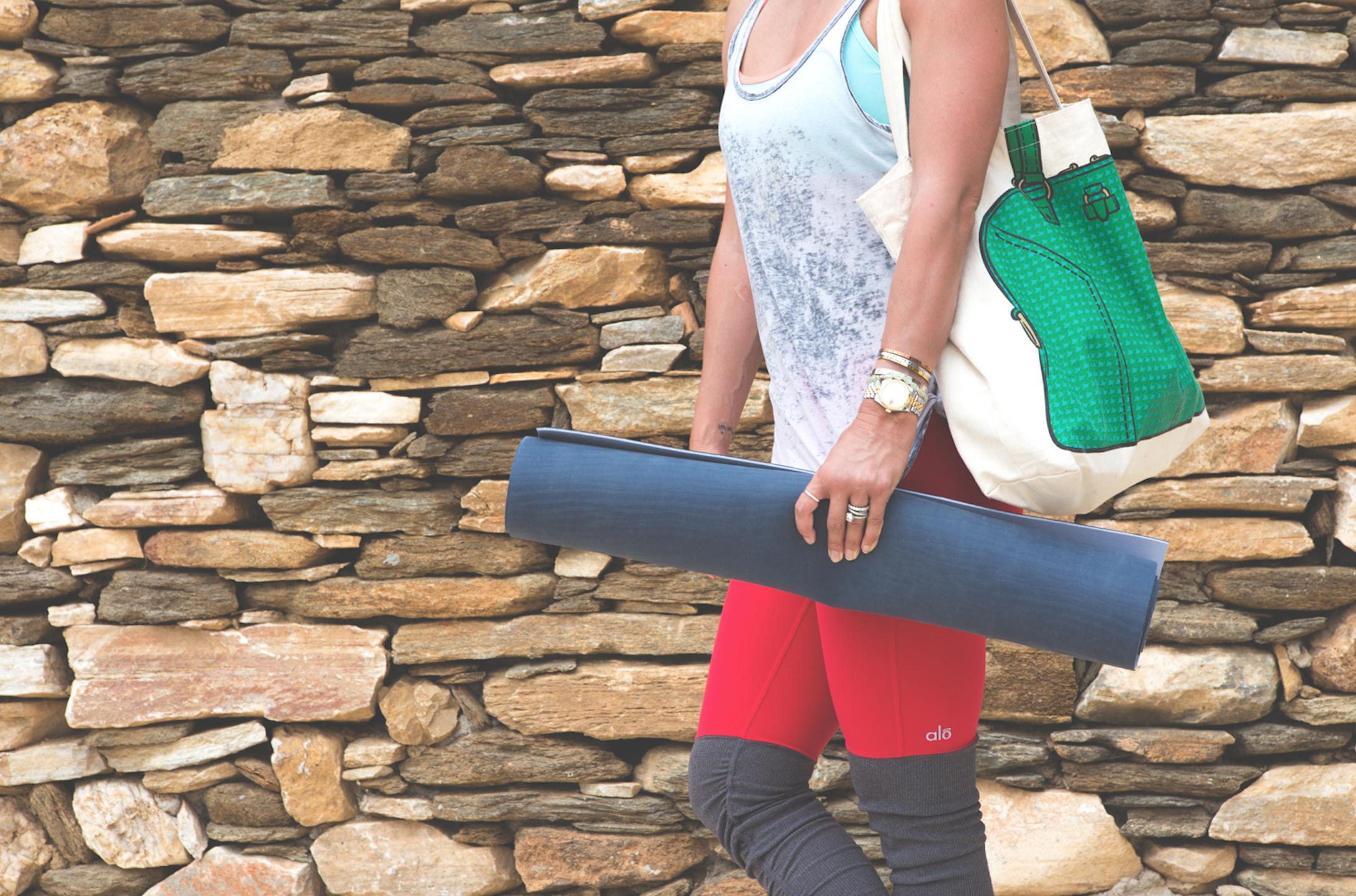 Pin now!  Wearing:  alo leggings ,  chaser tank ,  reebok bra ,  my other bag ,  yoga mat .