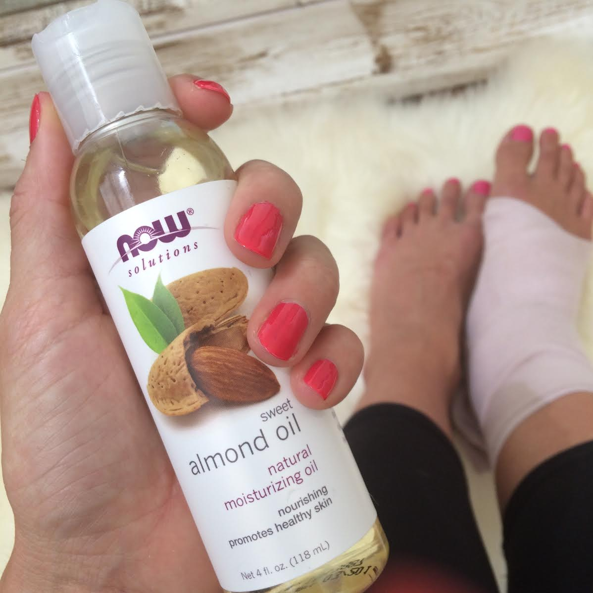 Massage oil  for a sprained ankle.