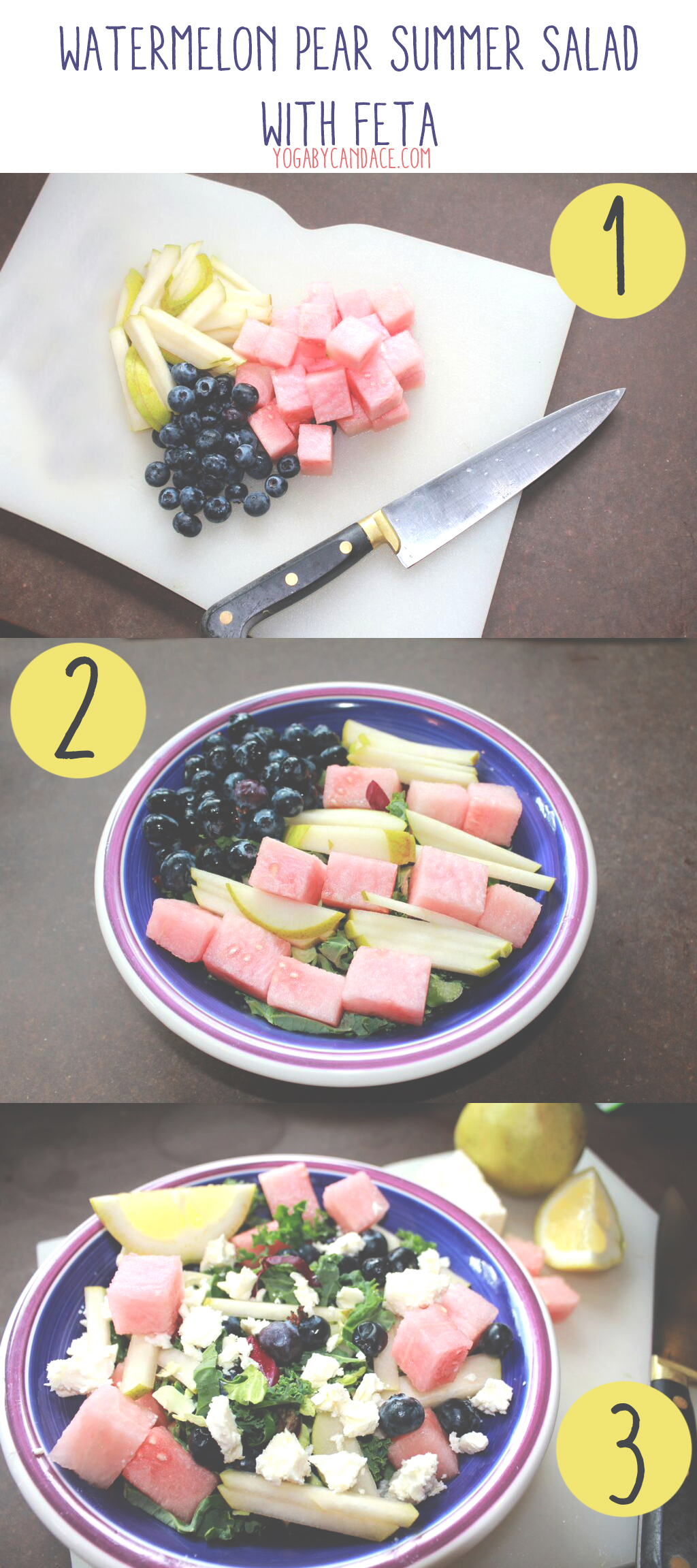 Pin now, make later! Watermelon pear summer salad with feta