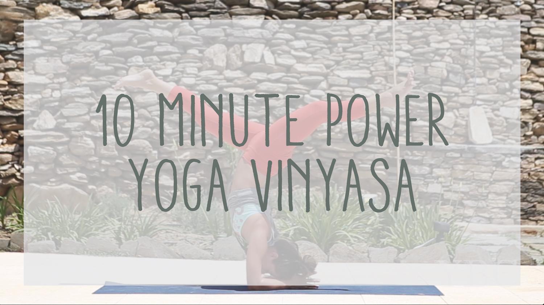 Pin now, practice later - 10 minute power yoga vinyasa video  Wearing:  yoga pants ,  shirt ,  reebok bra .