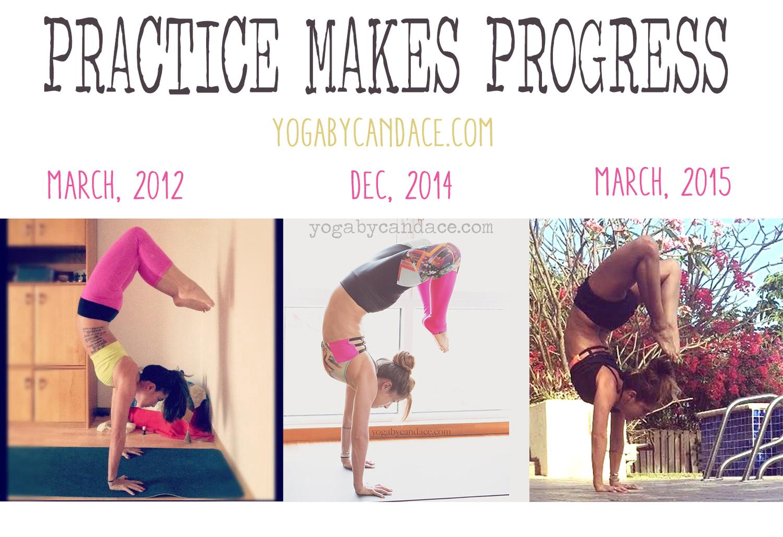 Pin it! Practice makes progress in the yoga journey  Wearing: 1:  lululemon leggings , champion bra, 2:  onzie bra  and leggings ( similar ), 3:  lululemon shorts ,  onzie bra , f21 tank.