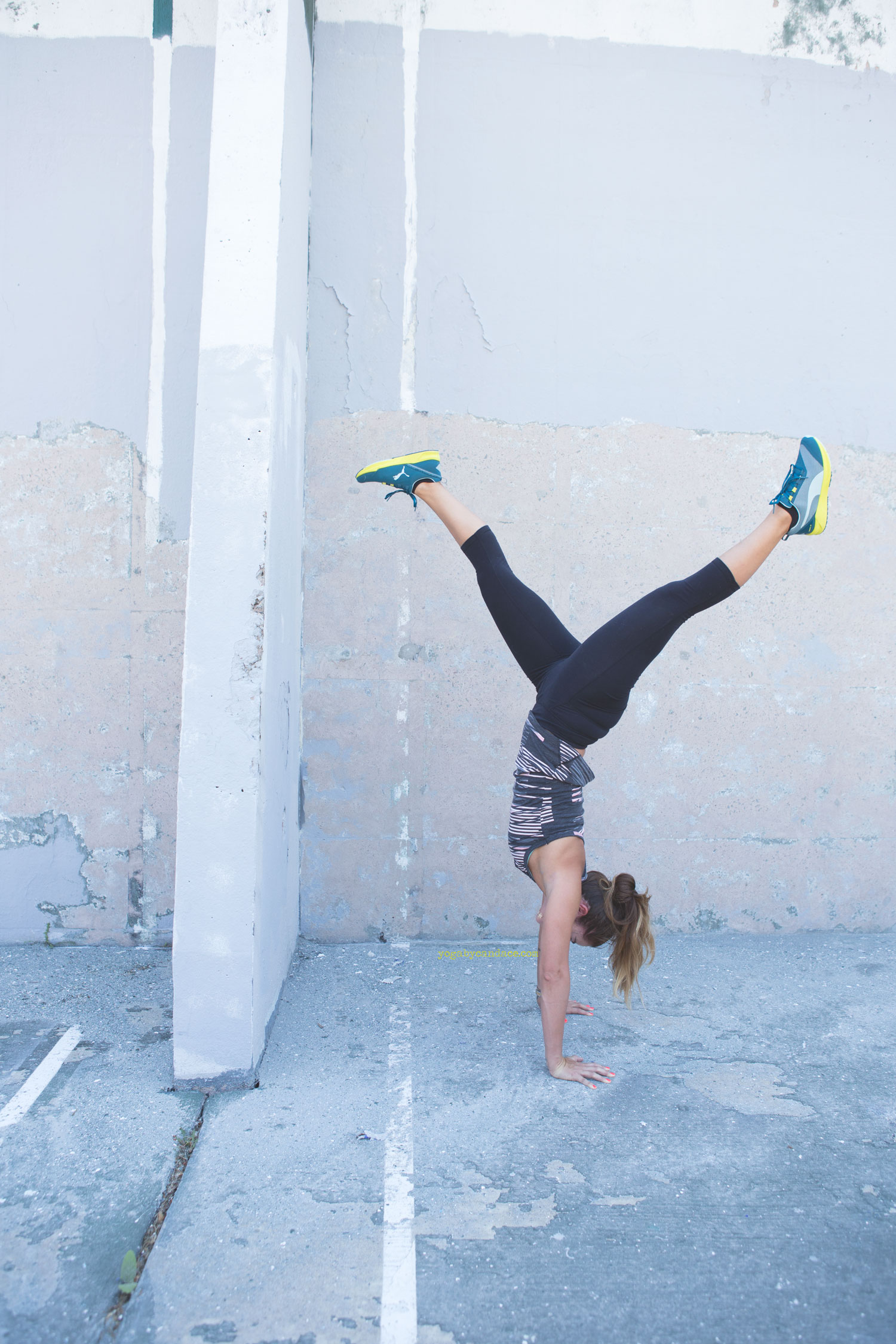 Pin now, practice handstand later!   Wearing:  Sweaty Betty leggings ,  Puma tank  and  sneakers .