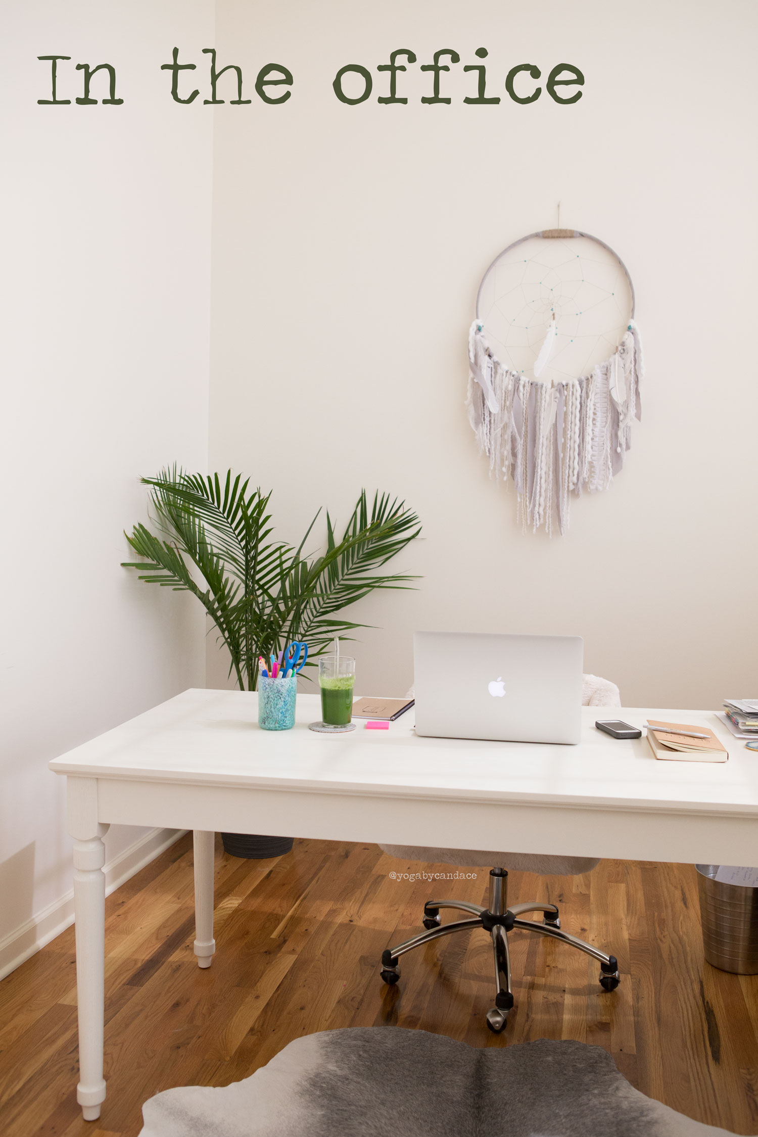 Work space: desk from Potterybarn ( similar  and  budget friendly ), chair from Potterybarn,  dreamcatcher .