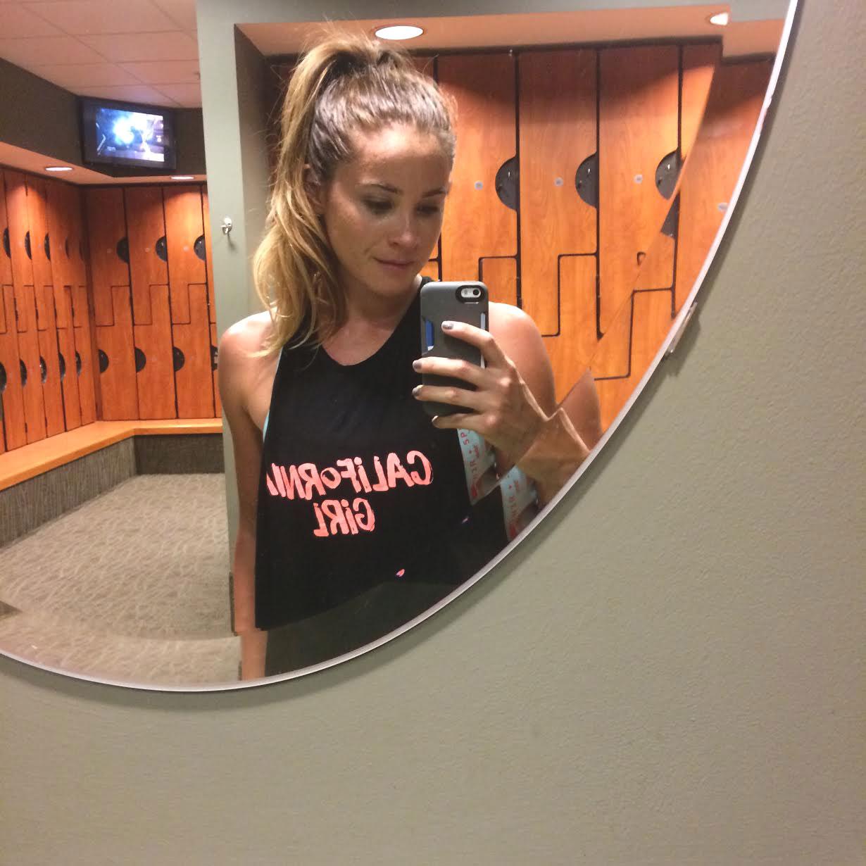 Miz at the gym  Wearing:  sweaty betty tank ,  reebok bra .