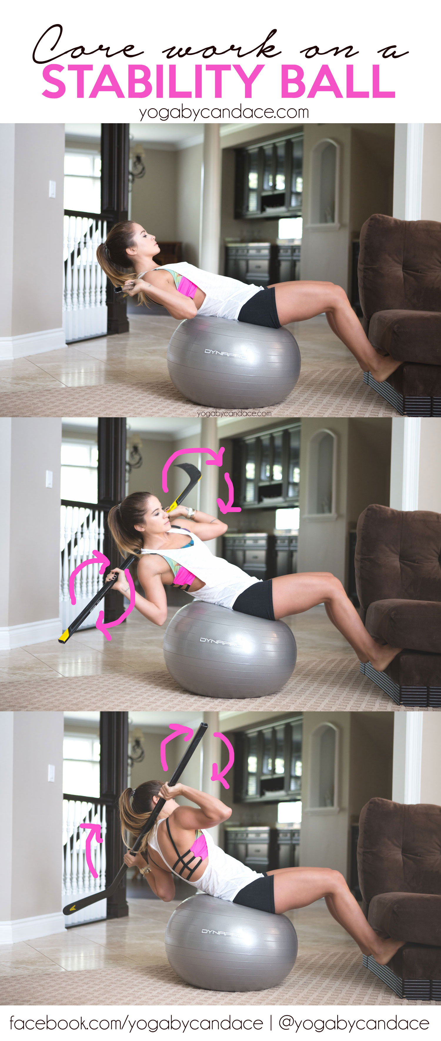 Pin now, practice later! Core work on a stability ball.  Wearing:  forever 21 tank ,  onzie bra ,  lululemon shorts .