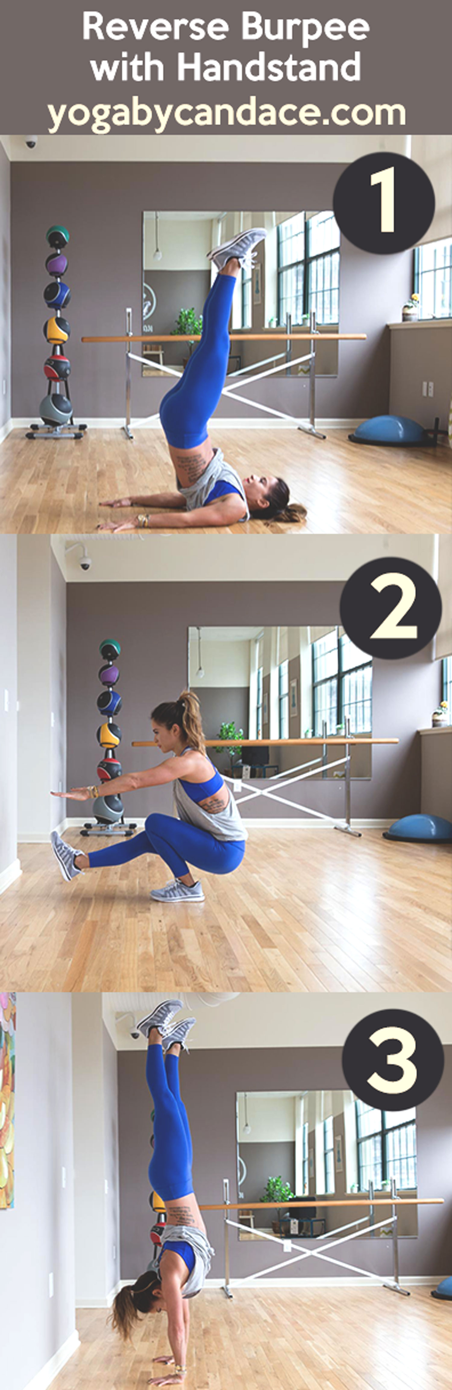 Pin now, practice later - how to do reverse burpees with handstands  Wearing: APL sneakers , old leggings, hardtail tank , sadhana bra ( similar ) c/o