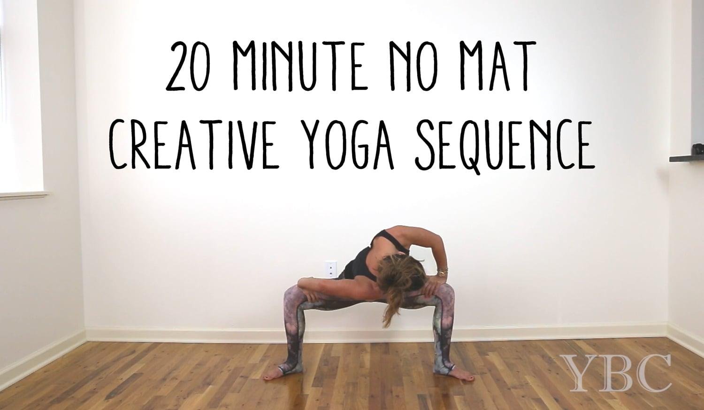 Pin now, practice later - 20 minute no mat creative yoga sequence!  Wearing:  Teeki pants ,  Splendid top .  Lady Danger lipstick .