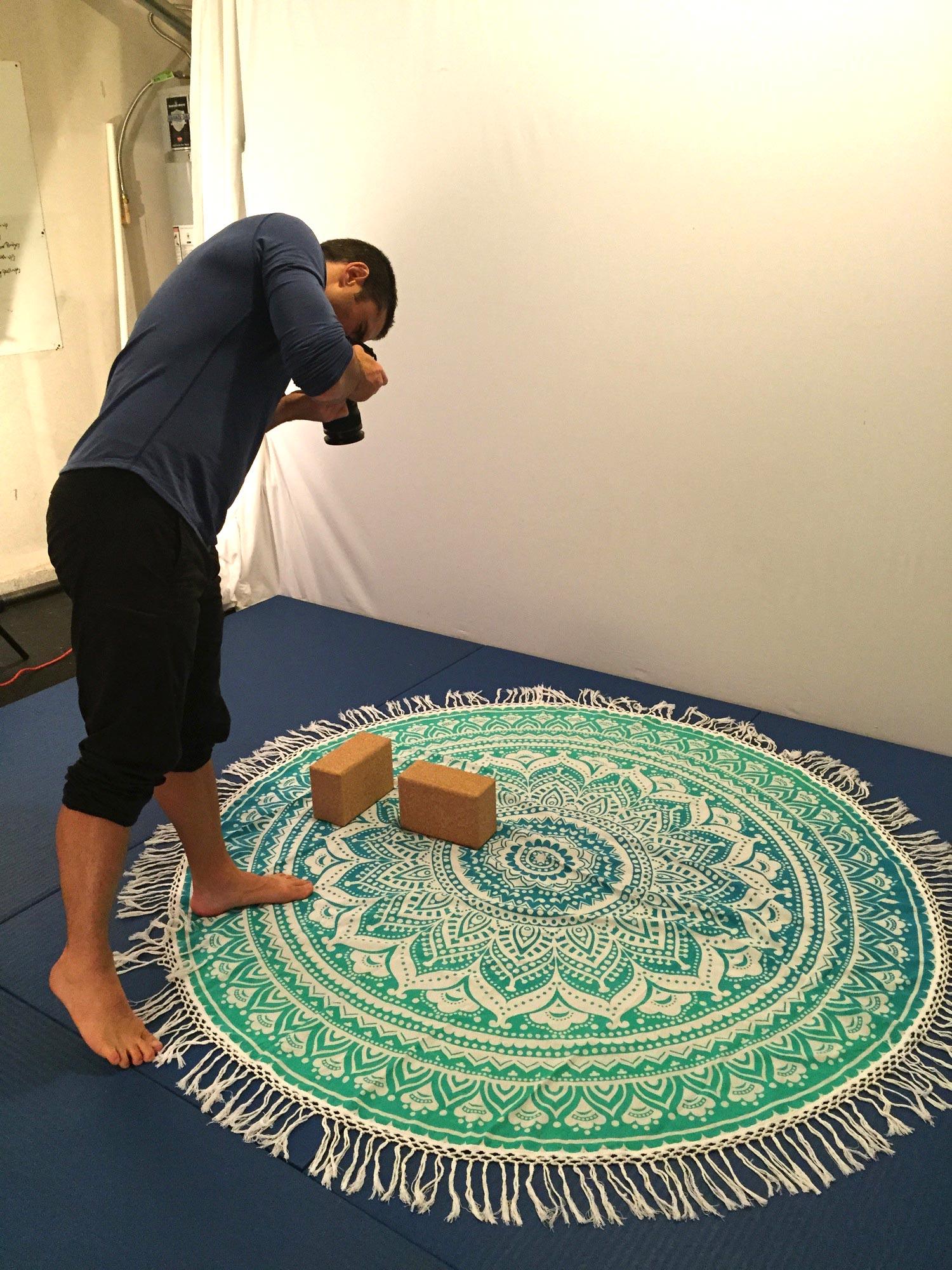 Glen shooting a blanket c/o  The Fox and The Mermaid , cork blocks c/o  Jade Yoga