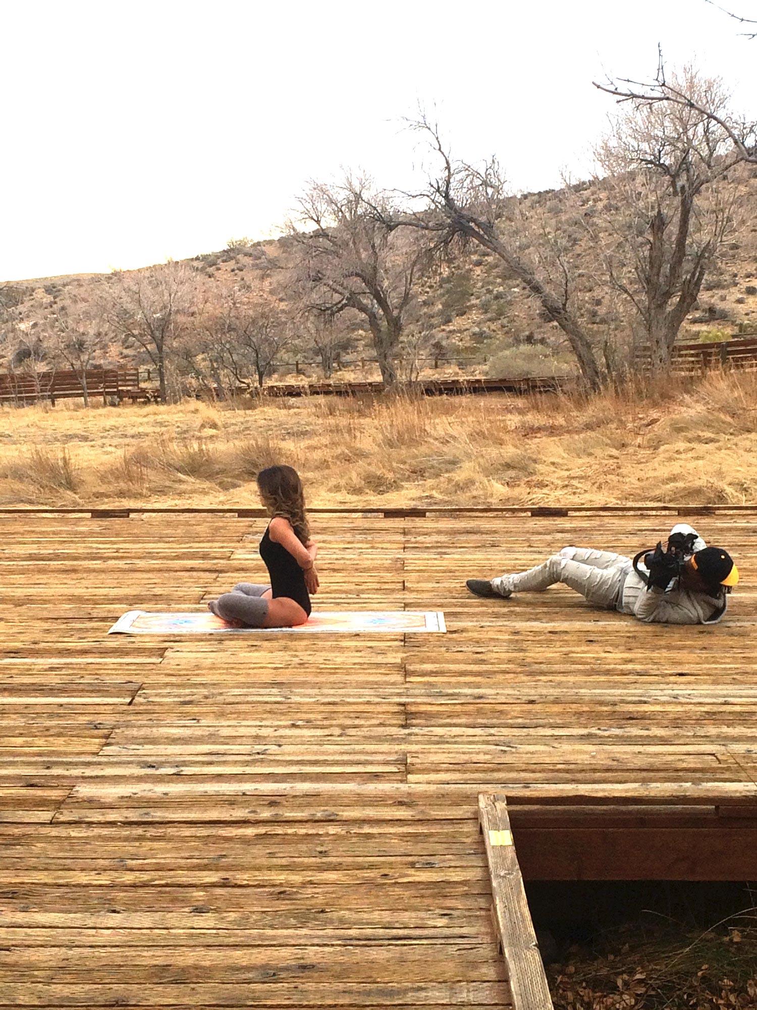 yoga mat c/o  One By Sun . Desert shoot shot by  Charles Henry .