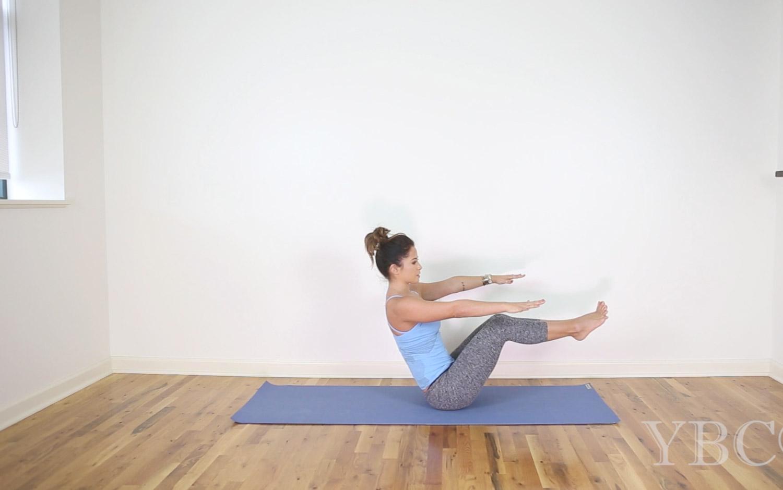 20 Minute video for core strength  Wearing:  Beyond Yoga Capris ,  Sweaty Betty top c/o. Using:  Jade Yoga Mat .