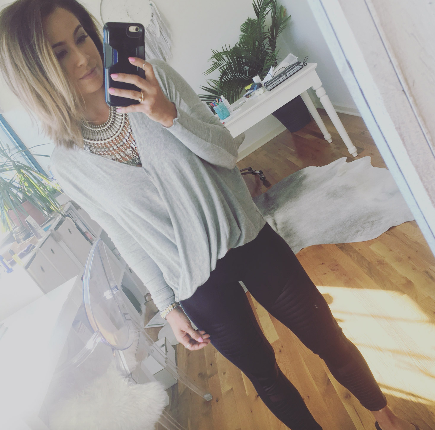 Wearing:  Free People necklace ,  alo yoga pants ,  urban outfitters top