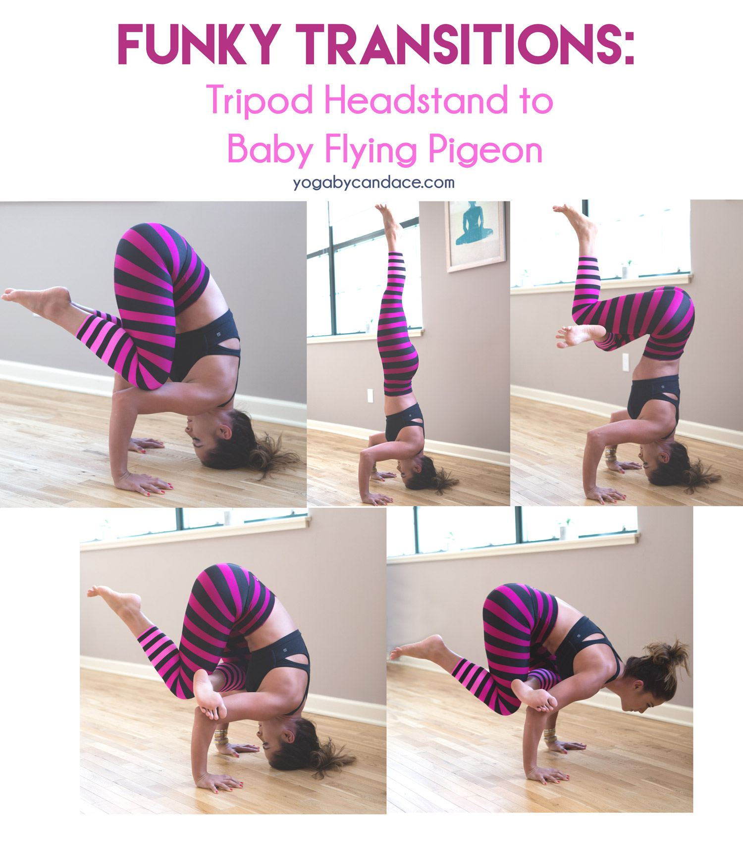 Pin now, practice later - funky transition: tripod headstand to baby flying pigeon