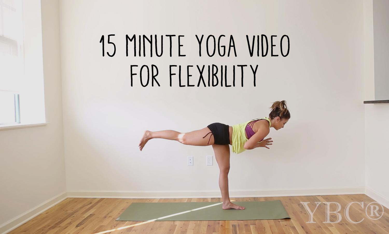 15 minute yoga video for flexibility  Wearing:  sweaty betty shorts , hard tail tank,  lanston sports bra .  Using:  Jade yoga mat
