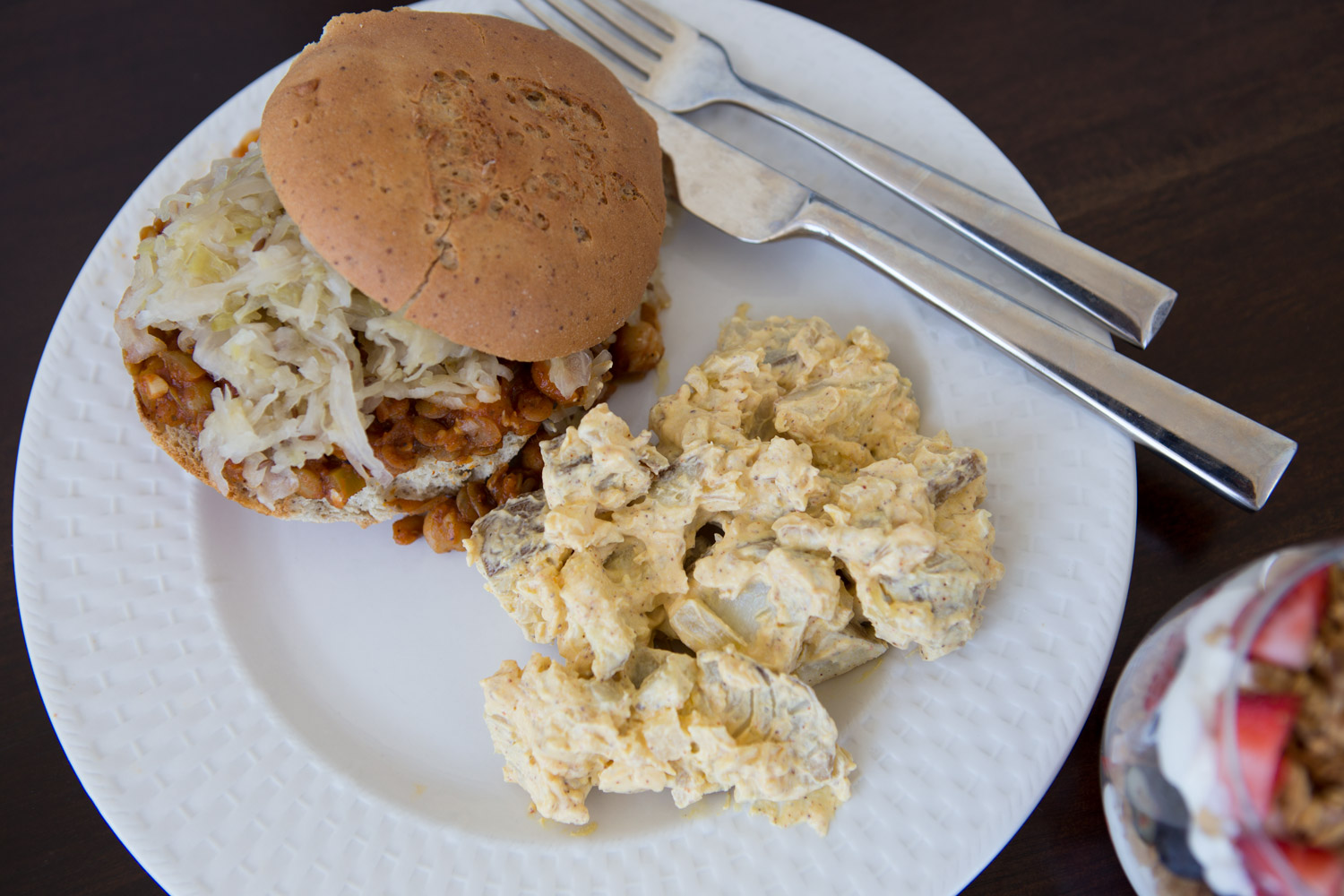Healthy sloppy joes and potato salad