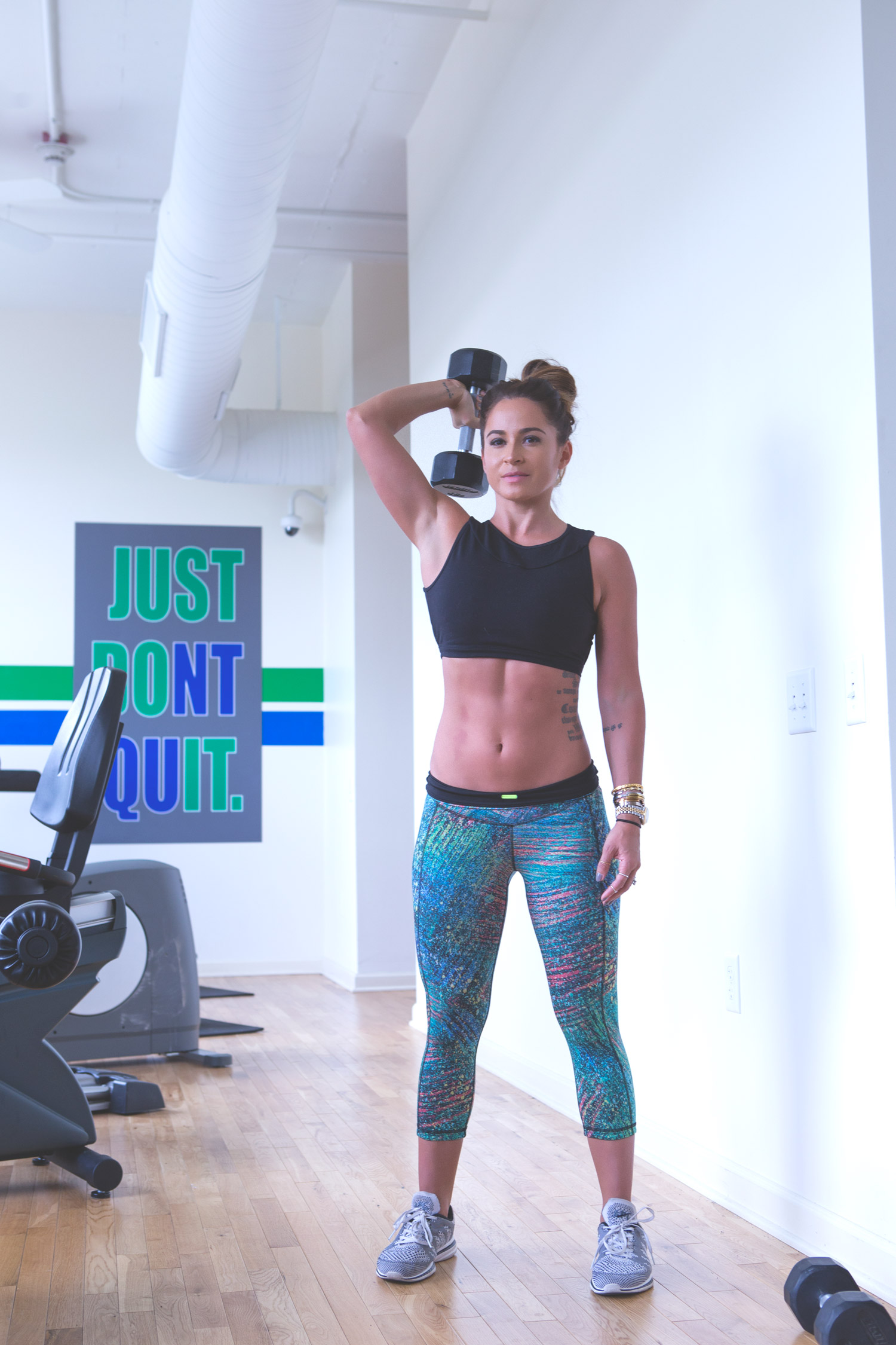 Gym hacks I swear by  Wearing:  Sweaty Betty capris ,  APL sneakers ,  Sadhana bra
