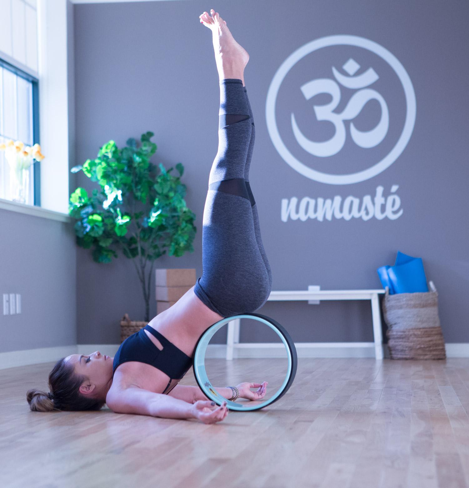 3 Ways to use a yoga wheel  Wearing: Lanston pants ( similar style ) and bra ( similar style ) c/o.  Using Yoga Wheel .