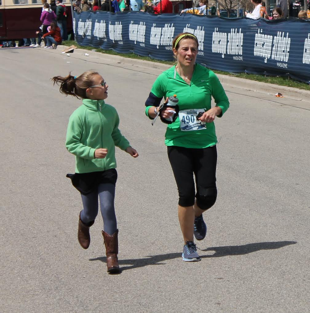 "Showcase your strengths - Wisconsin Marathon nearing the finish line.....invited my daughter to jump in and join me as a sort of ""Girl Power"" moment."