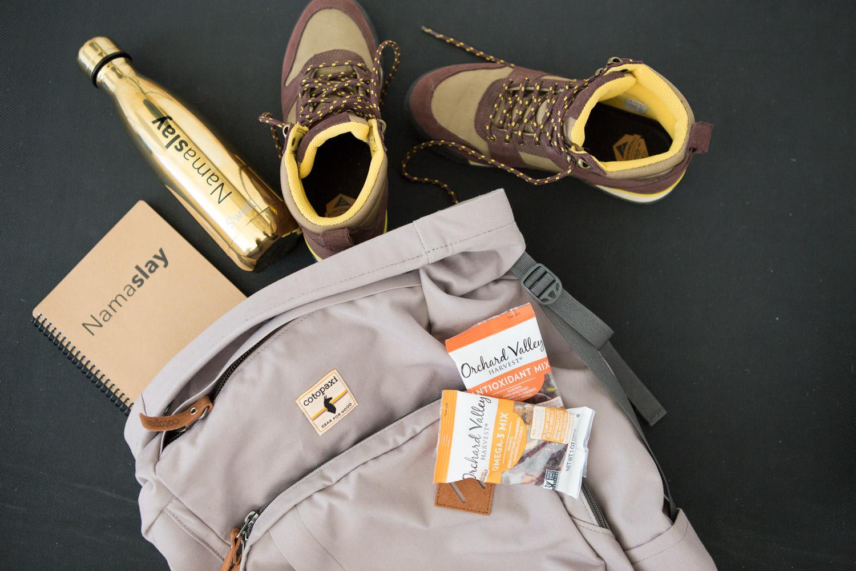 Hiking essentials   Backpack ,  Namaslay notebook , Namaslay water bottle, hiking boots.